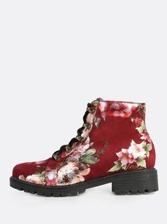 Faux Suede Floral Print Combat Boots WINE
