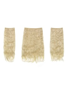 Pure Blonde Clip In Curly Hair Extension 3pcs
