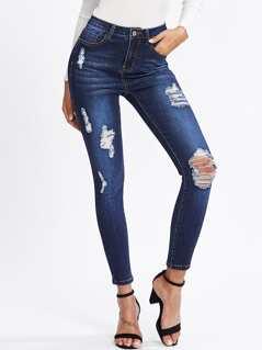 Dark Wash Shredded Skinny Jeans