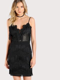 Tassel Lace Trim Dress BLACK