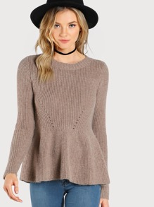 Flare Hem Long Sleeve Sweater ALMOND