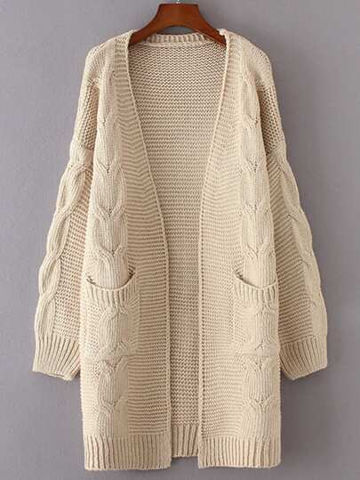 Cable Knit Chunky Longline Cardigan -SheIn(Sheinside)