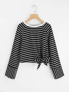 Raglan Sleeve Bow Detail Striped Tee