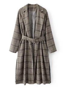 Slit Side Glen Plaid Tweed Coat With Belt