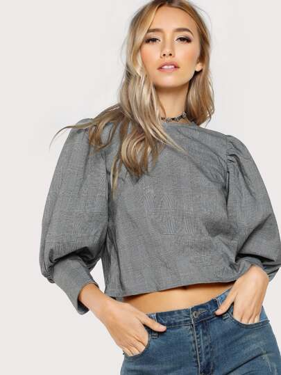 Gigot Sleeve Plaid Top