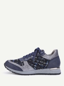 Tweed Detail Lace Up Sneakers