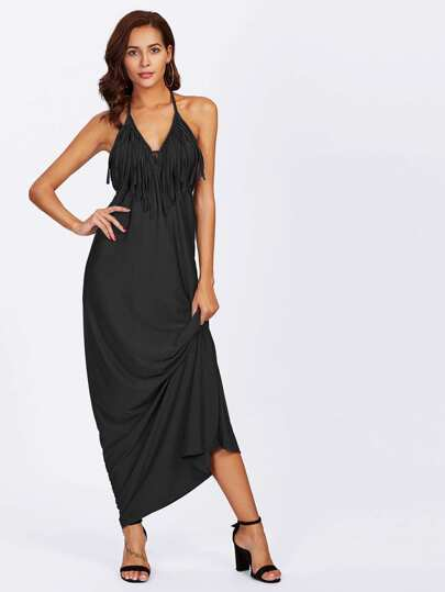 Fringe Trim Plunge Halter Dress