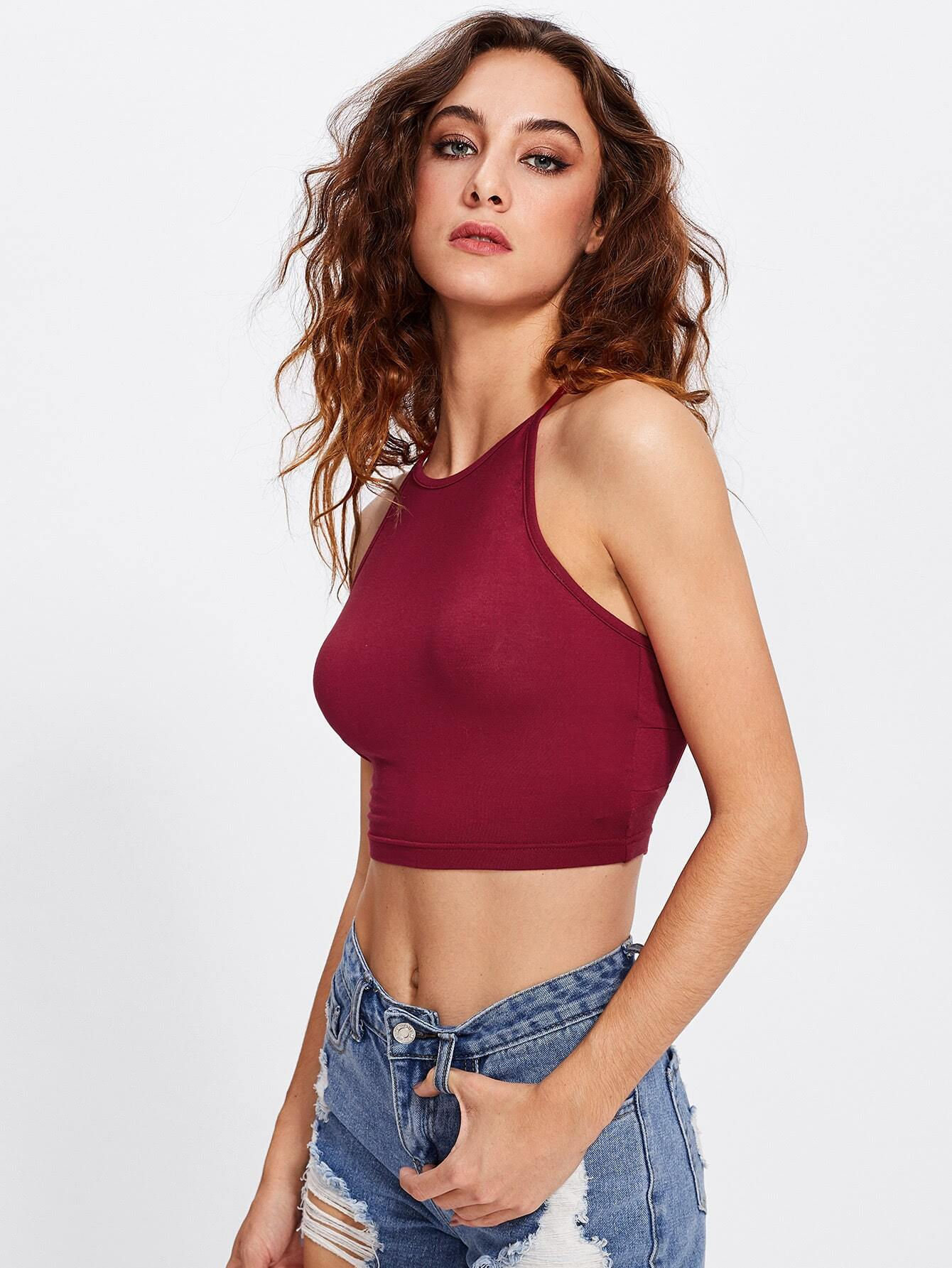 Cutout Crisscross Back Crop Cami Top lisa corti сандалии