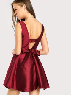 V Neck Sleeveless Solid Dress BURGUNDY