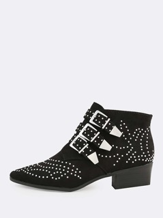 Studded Point Toe Strappy Boots BLACK