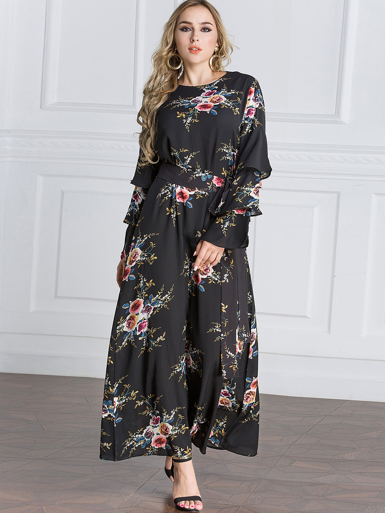 Botanical Print Flounce Layered Sleeve Tie Waist Dress