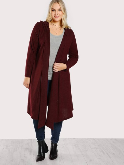 Hooded Soft Knit Longline Cardigan -SheIn(Sheinside)