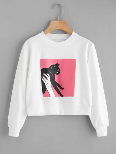 Cat Print Sweatshirt