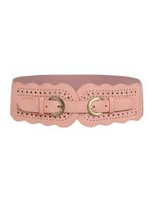 Scallop Trim Double Buckle Elastic Belt