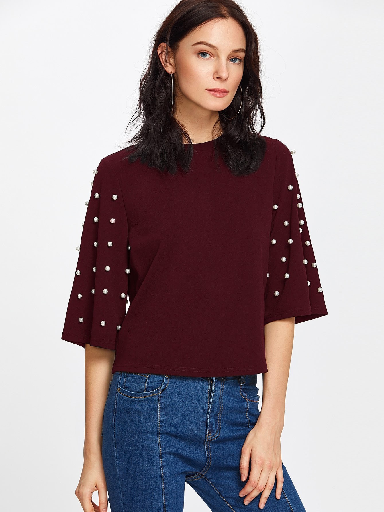 все цены на Pearl Embellished Fluted Sleeve Tee