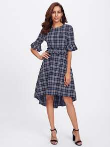 Ruffle Cuff And Waist Grid Dip Hem Dress