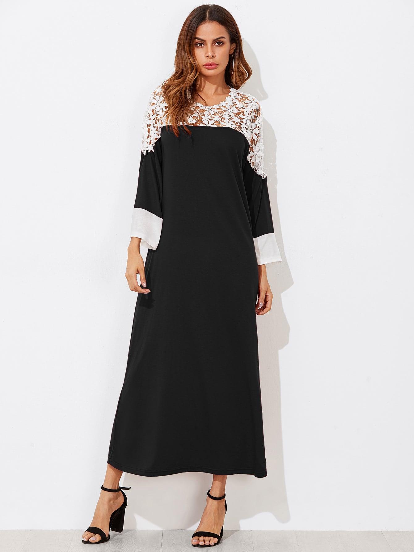 Lace Crochet Contrast Dress lace crochet contrast tie waist coat