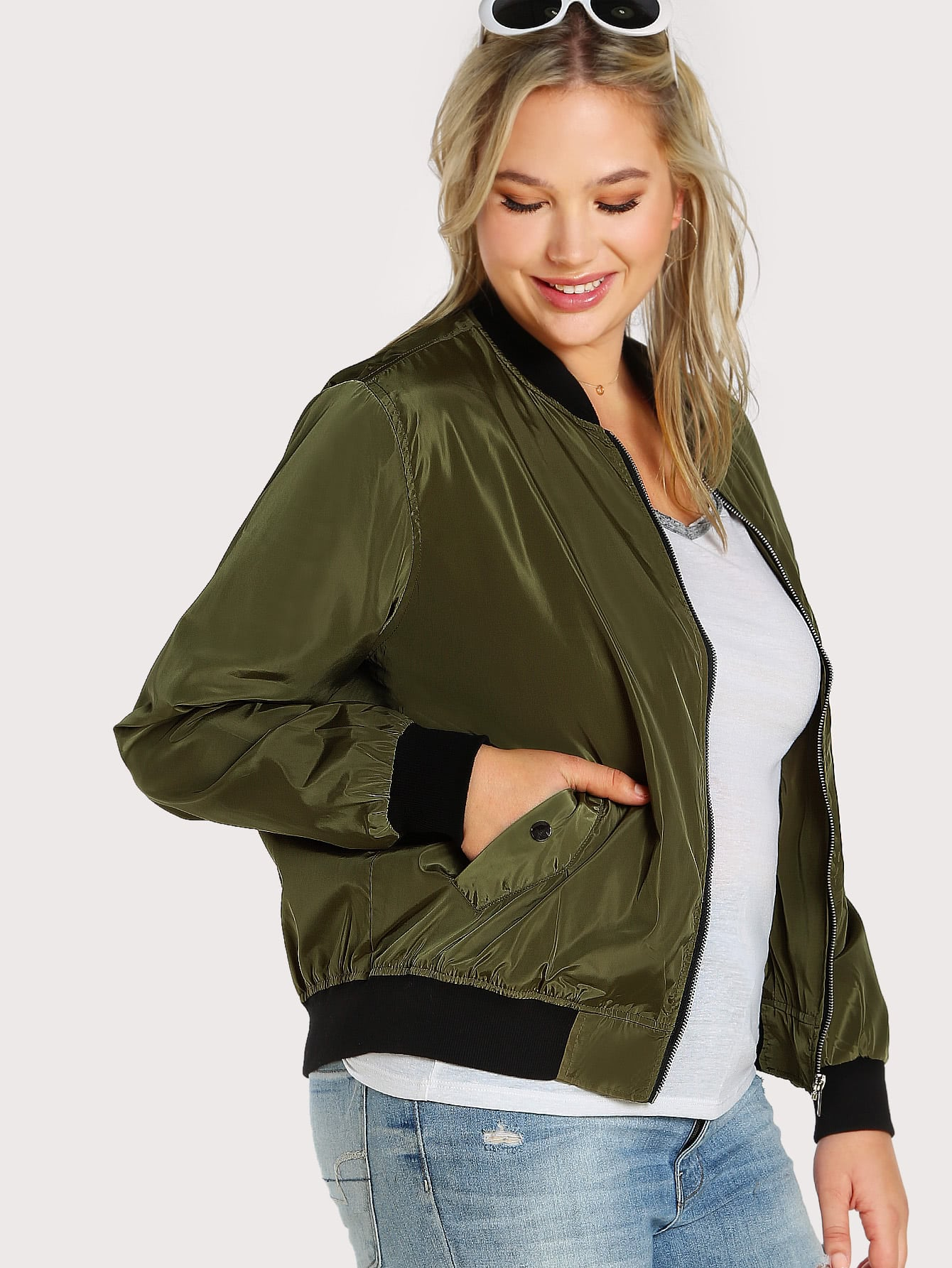 Image of Contrast Rib Trim Bomber Jacket