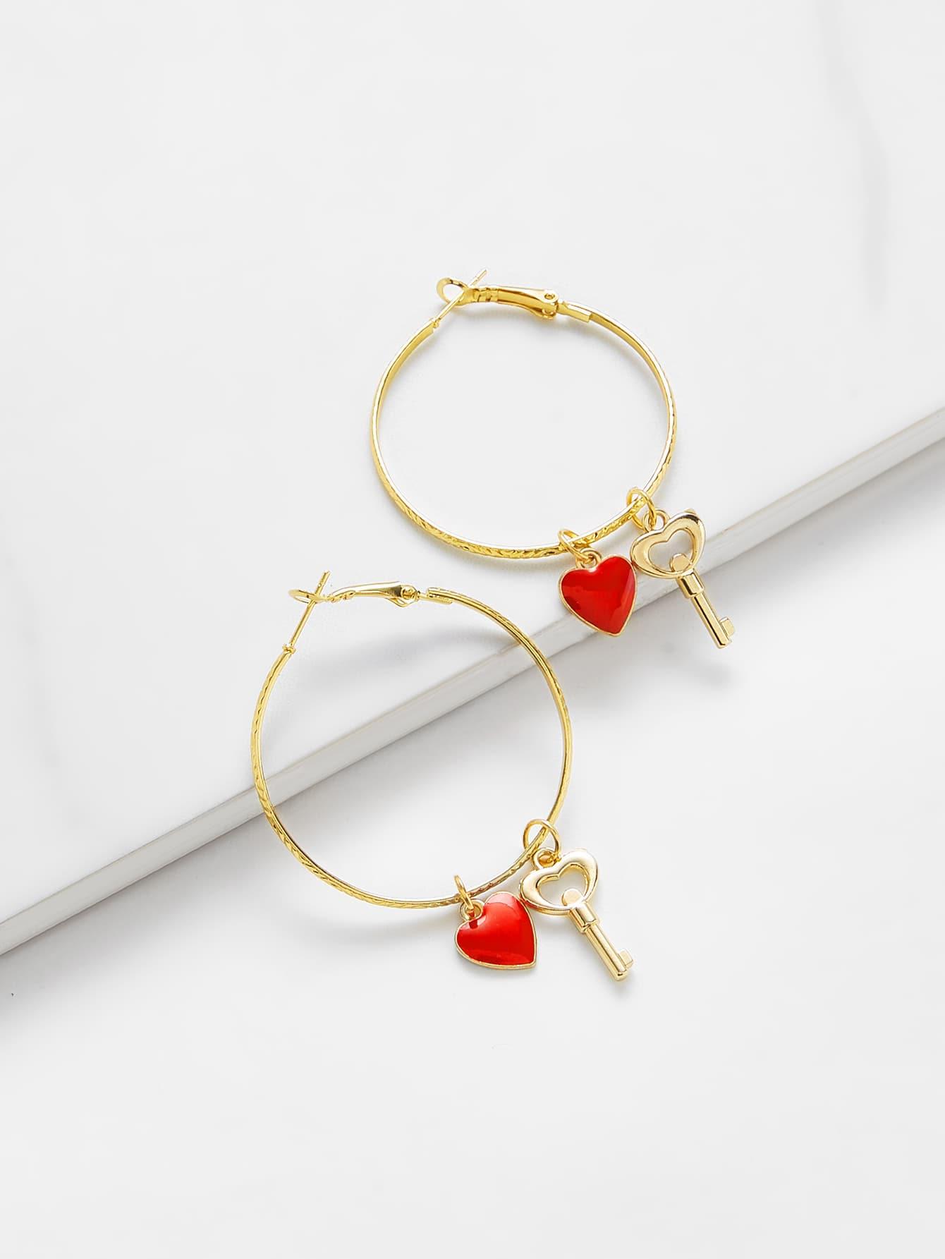 Heart Detail Hoop Earrings bow detail hoop drop earrings