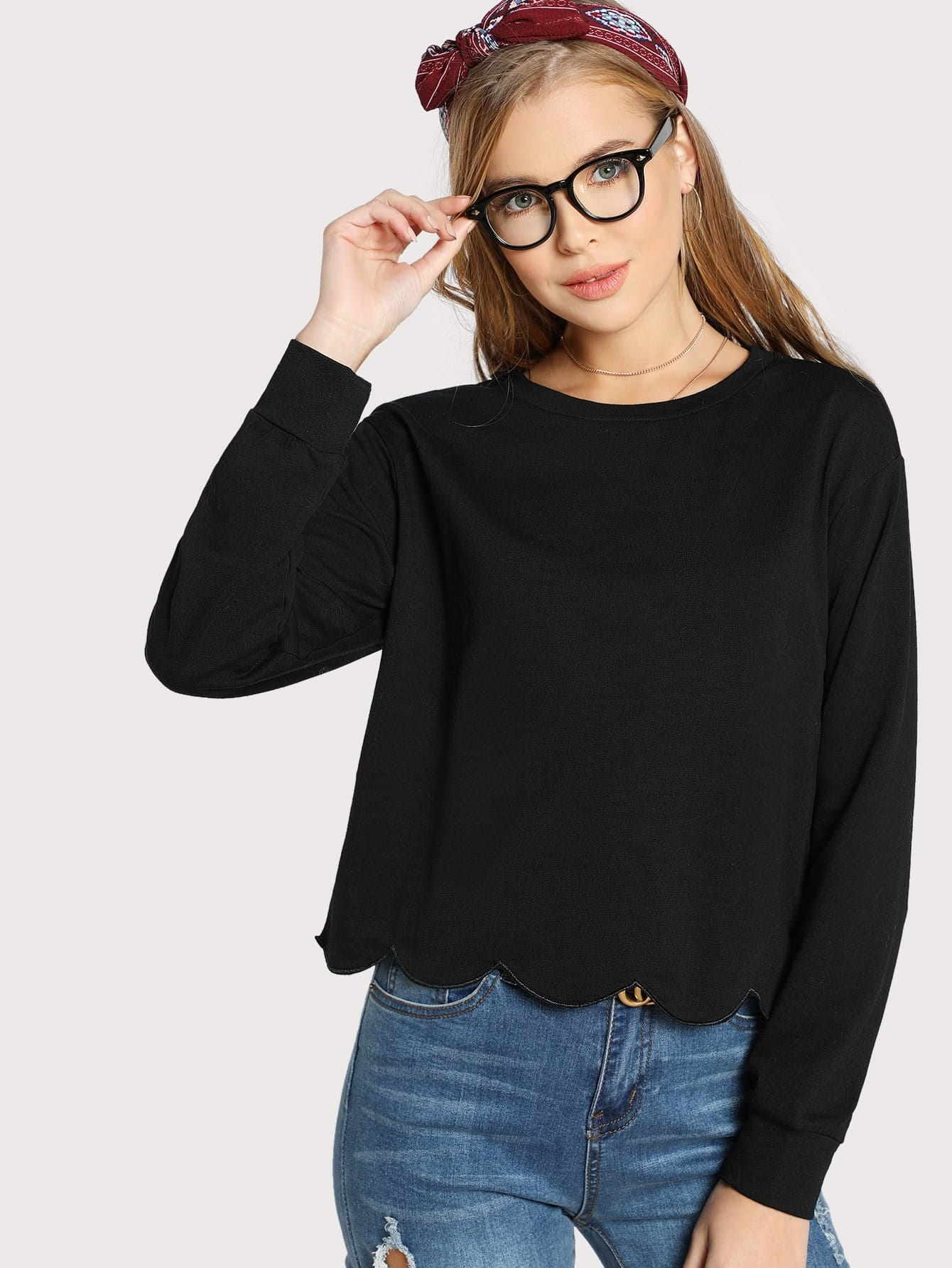 Drop Shoulder Scallop Hem Sweatshirt миша майский franz schubert songs without words mischa maisky daria hovora