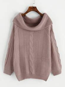 Foldover Neck Cable Knit Sweater