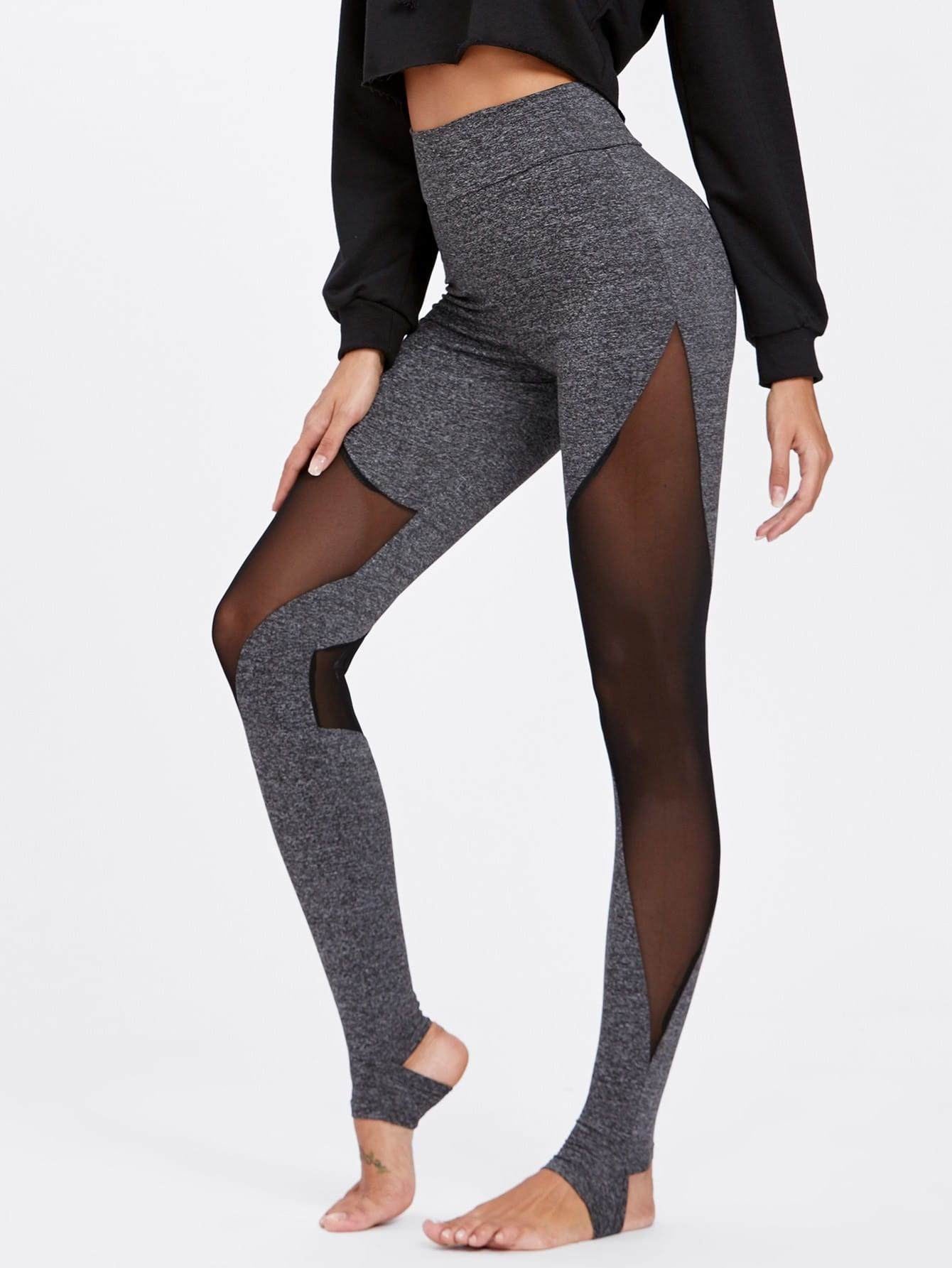 Mesh Insert Heathered Knit Stirrup Leggings peacock printed yoga stirrup leggings page 3