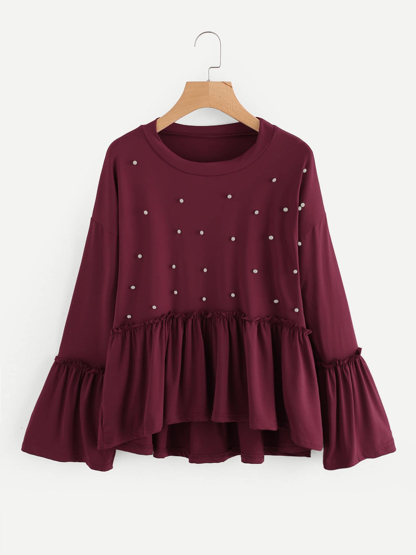 Pearl Detail Fluted Sleeve Frill Hem Tee pearl detail layered frill sleeve top