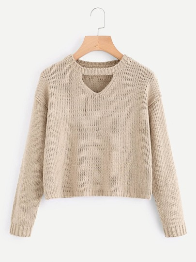 V Cut Neck Drop Shoulder Textured Knit Sweater
