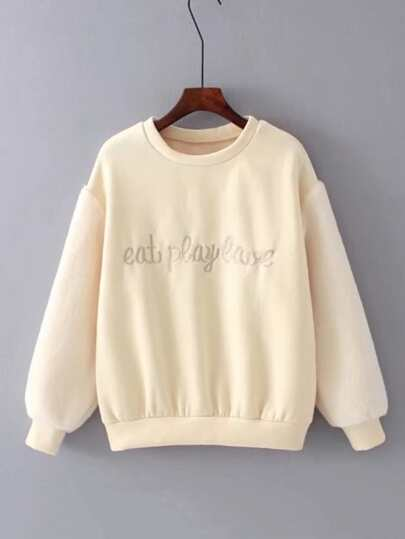 Slogan Embroidery Faux Fur Sleeve Sweatshirt