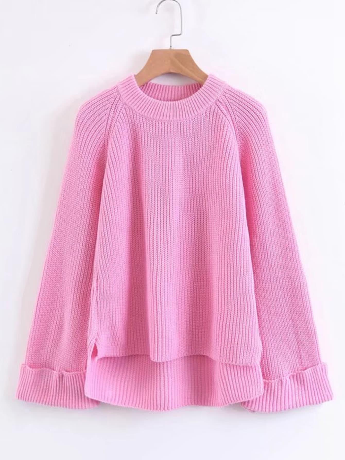 Asymmetrischer Pullover mit Raglan Ärmeln