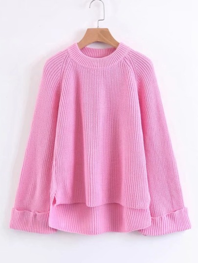 High Low Raglan Sleeve Cuffed Sweater