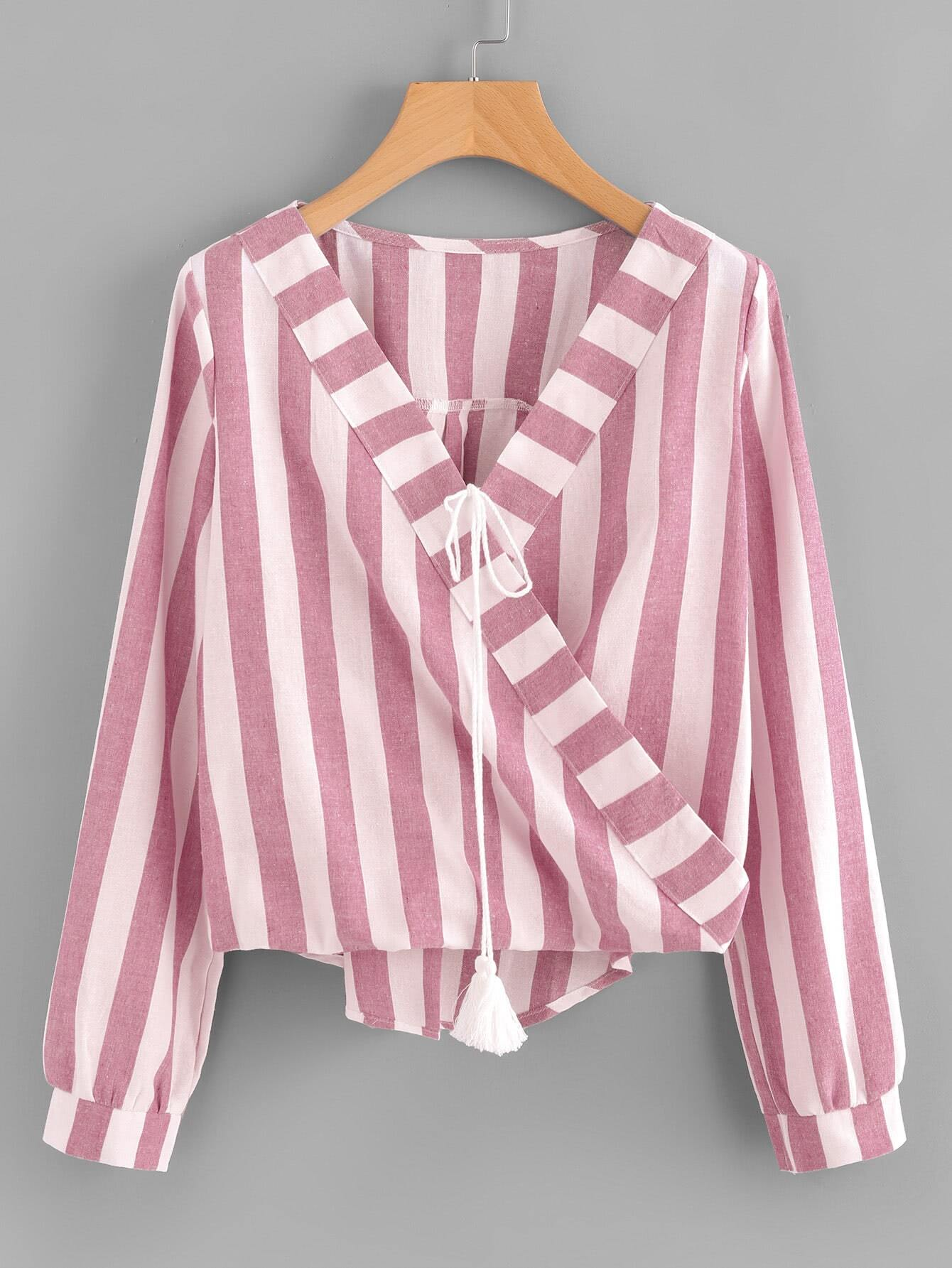 Contrast Striped Surplice Neckline Tassel Tie Blouse crisscross surplice neckline tie detail tropical print blouse