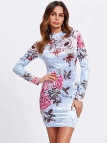 Floral Crushed Velvet Fitted Dress