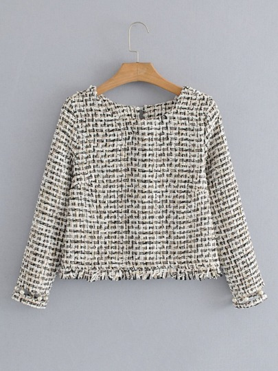 Top tweed con flecos y detalle de perlas