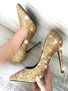 Glitter Point Toe Stiletto Pumps GOLD