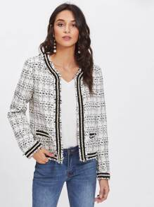 Pearl Embellished Raw Cut Trim Tweed Blazer