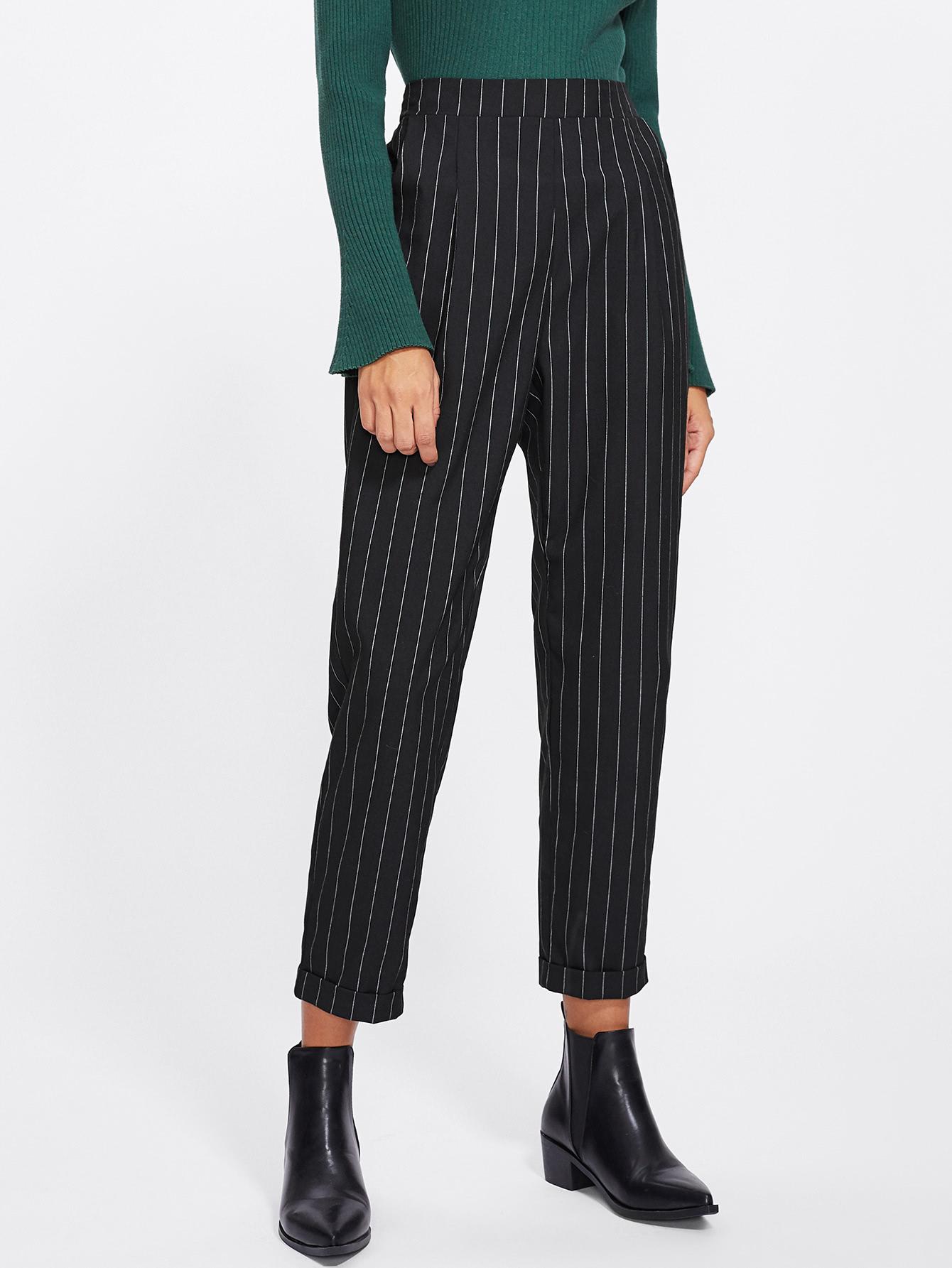Cuffed Leg Pinstripe Peg Pants solid cuffed pants