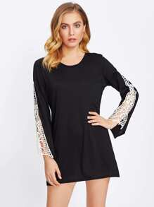Lace Hollow Sleeve Long Tee