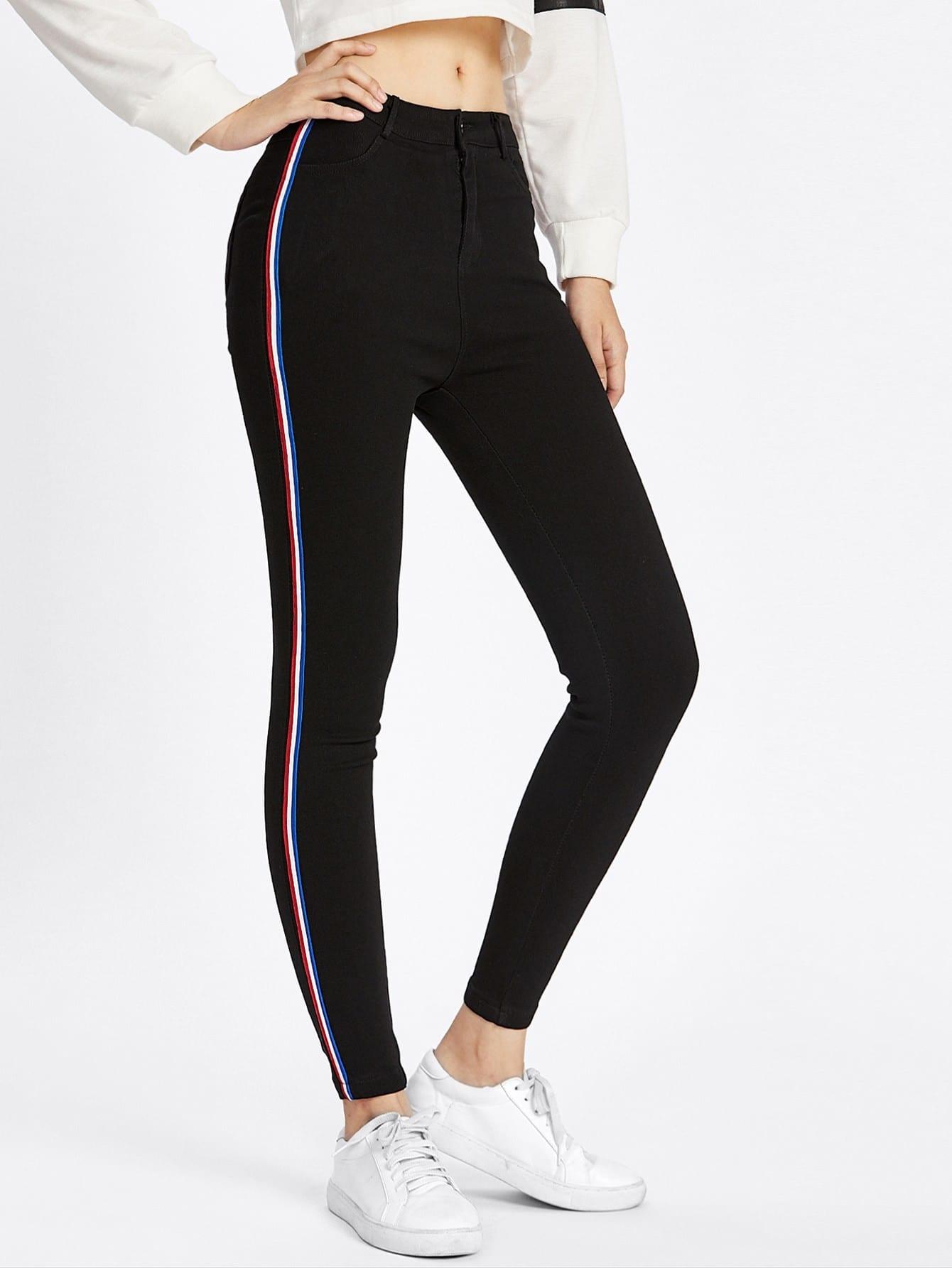 stripe contrast side skinny jeans shein sheinside. Black Bedroom Furniture Sets. Home Design Ideas