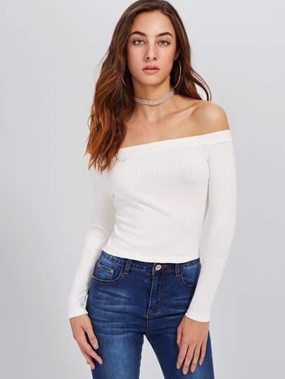 Bardot Ribbed Crop Tee