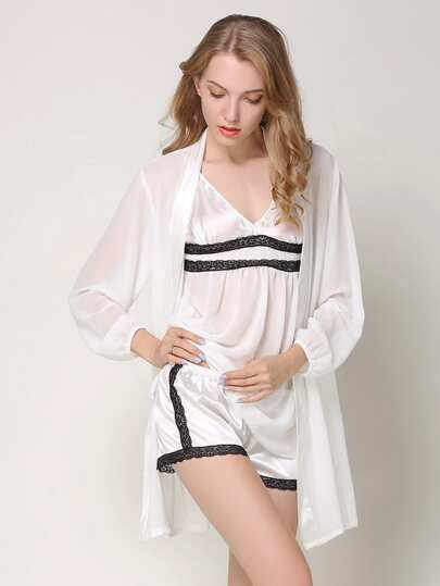 Contrast Lace Trim Cami Pj Set With Robe