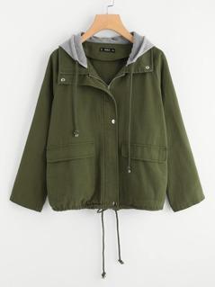 Contrast Hood Drawstring Hem Utility Jacket