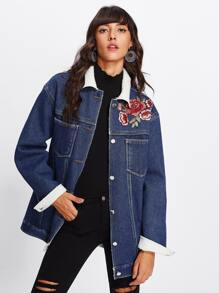 Rose Embroidered Patch Shearling Lined Jacket