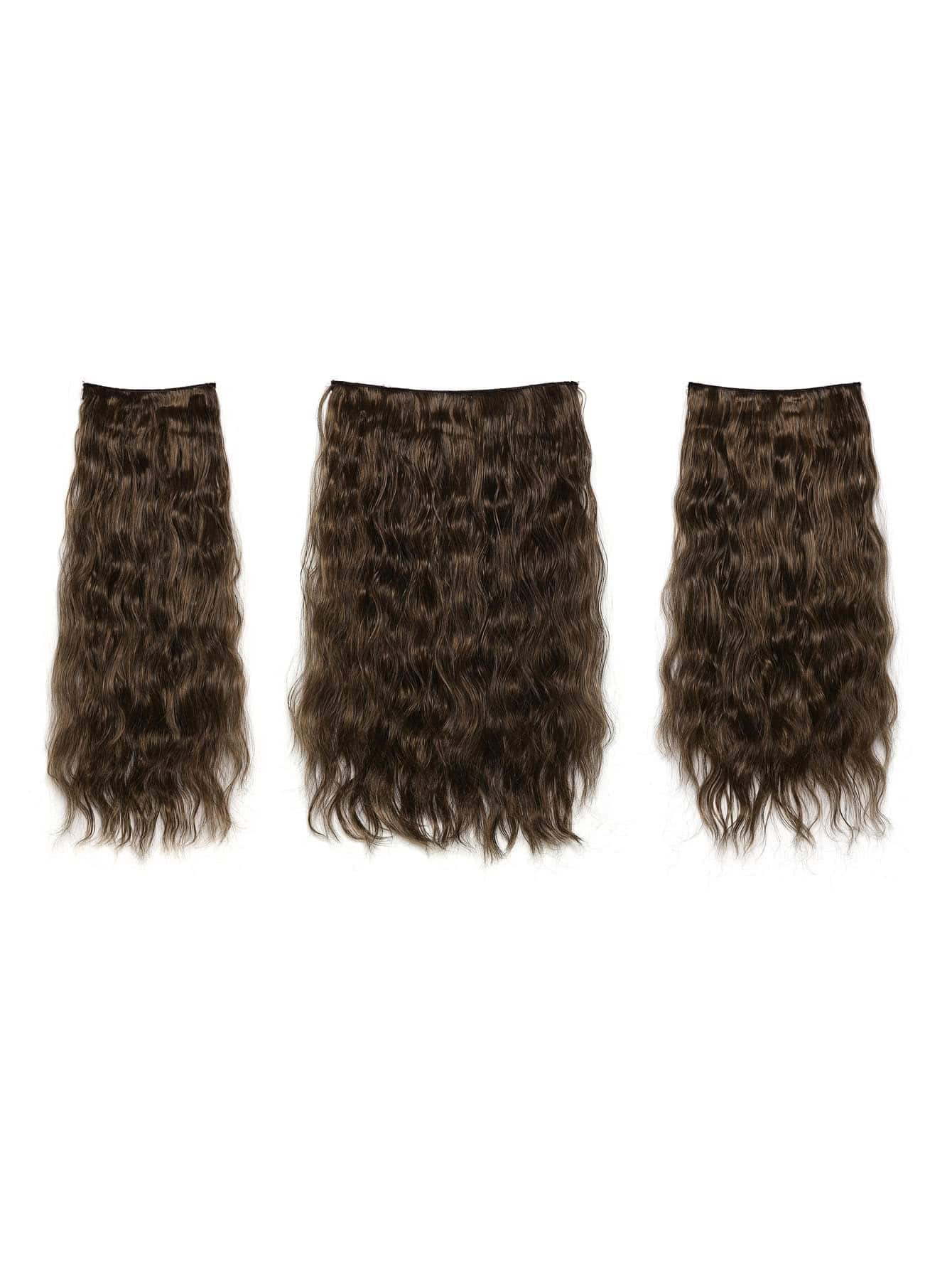 цена на Warm Brunette Clip In Curly Hair Extension 3pcs