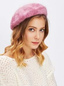 Faux Fur Beret Hat