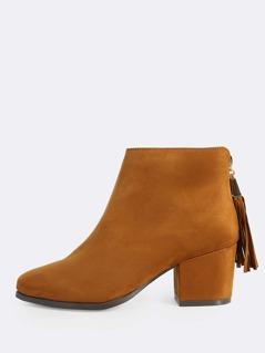 Faux Suede Zip Up Boots COGNAC