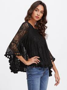 Trumpet Sleeve Tassel Trim Lace Top