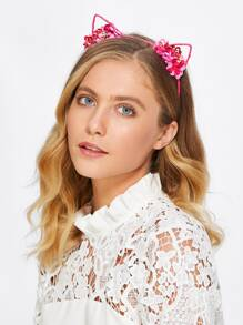 Cat Ear Flower Detail Headband