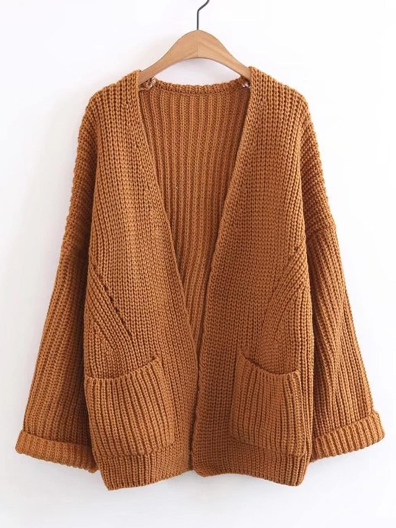 Front Pocket Drop Shoulder Cuffed Cardigan sweater171020201