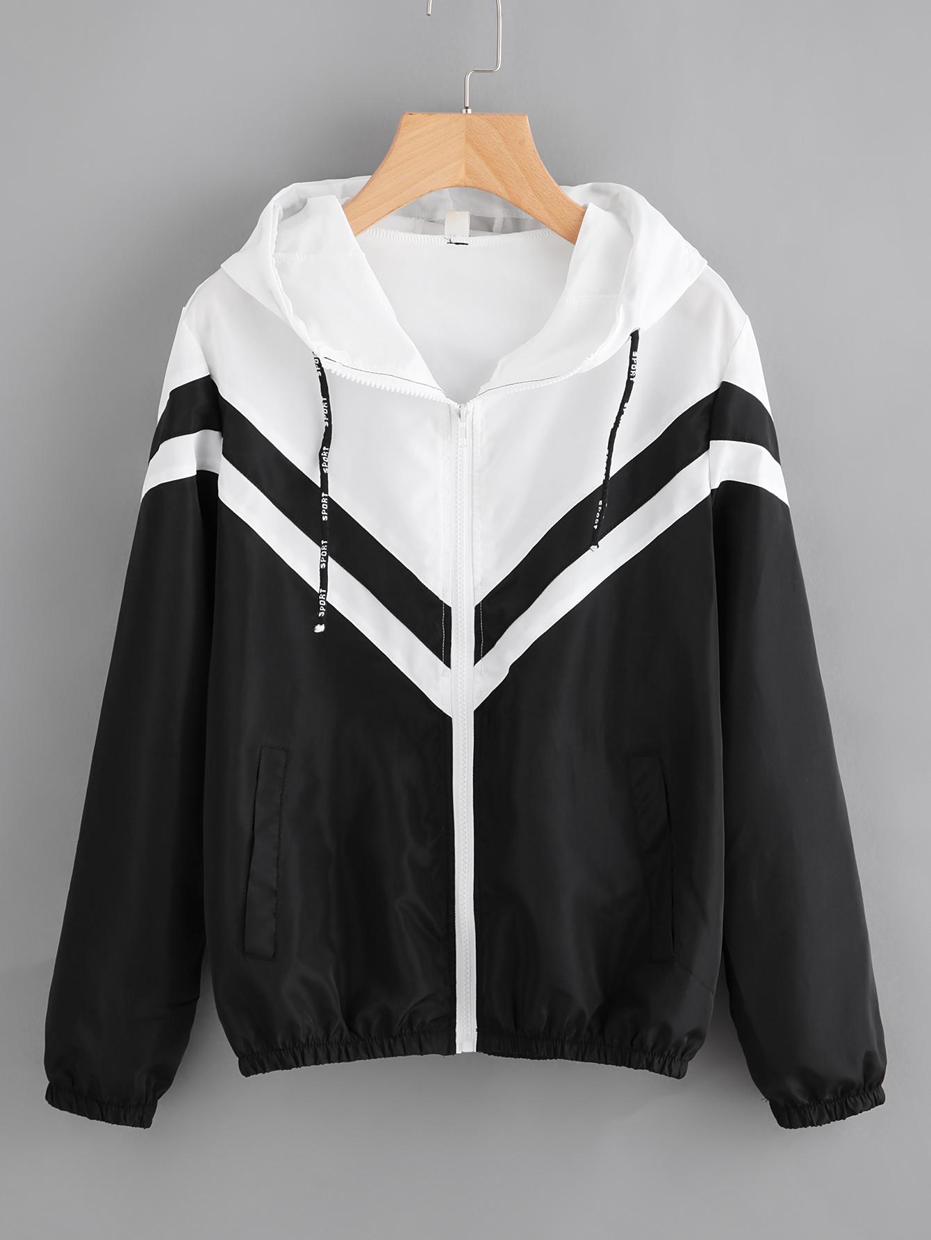 Купить Видспорта Контрастный Чёрнобелые Жакеты + Куртки, null, SheIn
